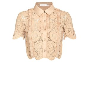 Self-Portrait Paisley Lace Crop Blouse | Shop IntermixOnline.com