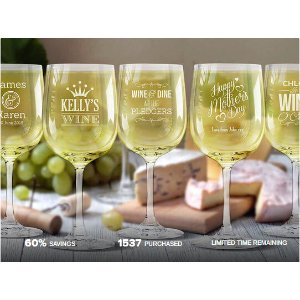 Up to 4 Personalized Etched Wine Glasses