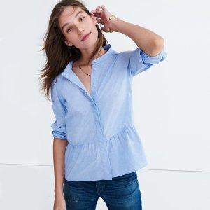 Lakeside Peplum Shirt in Waterfall Blue