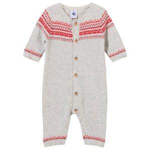 Petit Bateau Grey Fairisle Knit Alpaca Mix Babygrow | AlexandAlexa