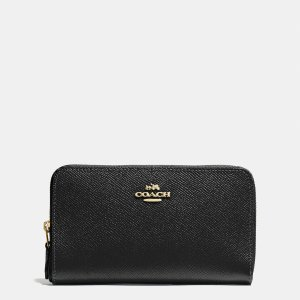 MEDIUM zip around wallet in crossgrain leather by Coach | Spring - Free Shipping. On Everything