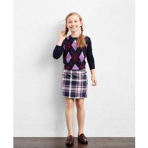 Girls' Merino Wool Blend Navy, Purple, and Burgundy Argyle Sweater | Brooks Brothers