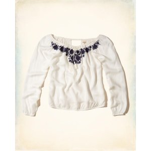 Girls Off-The-Shoulder Embroidered Tie-Neck Top | Girls Clearance | HollisterCo.com