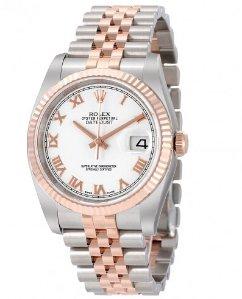 ROLEX Datejust White Roman Dial Jubilee Bracelet Two Tone Men's Watch 116231WRJ