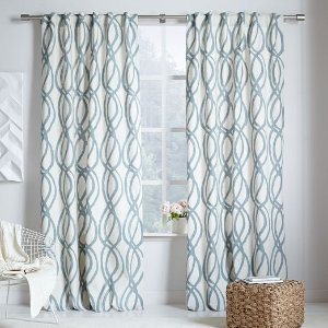 Cotton Canvas Scribble Lattice Curtain - Blue Sage | west elm