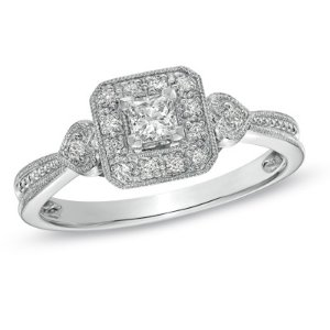 1/3 CT. T.W. Princess-Cut Diamond Vintage