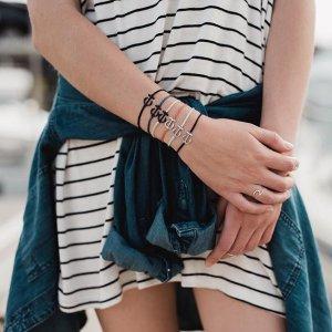Silver Mini Anchor Black | Pura Vida Bracelets