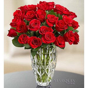 Red Roses in Marquis by Waterford® Vase | 1800Flowers.com-107042