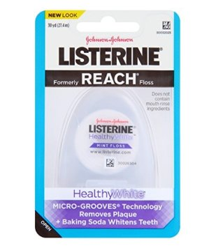 Listerine Healthy White Floss, Clean Mint (Pack of 6)
