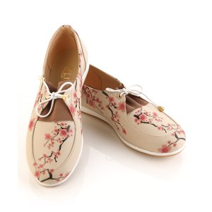 Goby Beige & Pink Cherry Blossom Oxford - Women | zulily