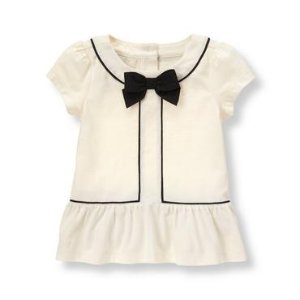 Baby Girl Ivory Bow Peplum Top at JanieandJack