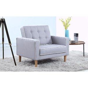Mid Century Modern Two-Tone Fabric Living Room Armchair - Light Grey - Sofamania