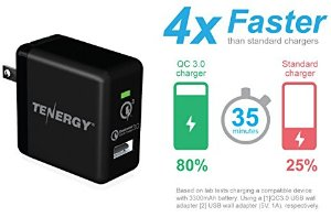 Tenergy 18W Qualcomm Certified Quick Charge 3.0 Adaptive Fast USB Wall Charger