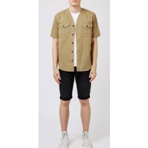 Khaki Denim Short Sleeve Baseball Shirt