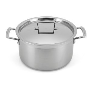 Le Creuset 3-Ply Stainless Steel Deep Casserole Dish with Lid - 24cm Homeware | TheHut.com
