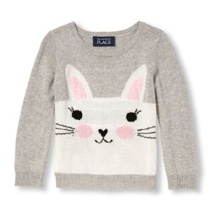 Toddler Girls Long Sleeve Animal Sweater   The Children's Place