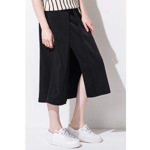 FRS Black Side Slit Midi Skirt