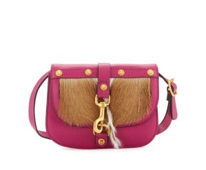 Valentino Pebbled Leather Clutch Bag with Fur Front, Fuschia