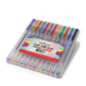 Gel Glitter Pens by Two Rascals - Premium Art Pens - 12 Smooth, Vibrant Colors
