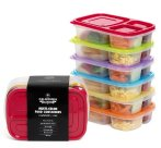 $10.99 California Home Goods 3 Compartment Reusable Food Storage Containers, Set of 6