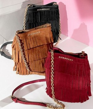 BURBERRY PRORSUM Mini fringed suede bucket bag @ Net-A-Porter