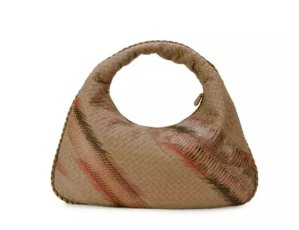 Bottega Veneta Large Veneta Shadow-Embroidered Snakeskin Hobo Bag