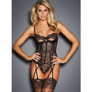 Louise Underwired Corset With Delicate Lace | Frederick's of Hollywood