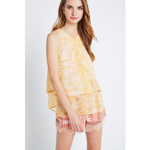 Tiered Pleated Paisley Print Tank