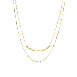 Balance Double Chain Tube Necklace, Gold Dipped | Dogeared