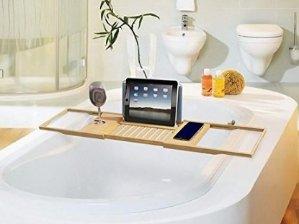 BathLax Bathtub Caddy Organizer Bamboo Bath Tub Tray Wine Glass