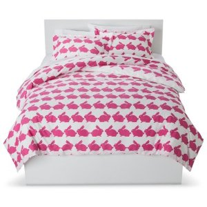 Anorak Rabbit Duvet Set Full/Queen Pink/White