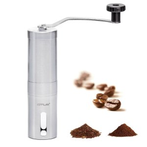 CITUS Manual Coffee Grinder with Ceramic Burr,Best Coffee Bean Grinder,Brushed Stainless Steel