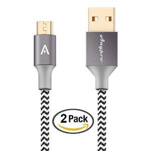Only $5.99 Anypro Nylon Braided 2.0 Micro-USB to USB Cable - 2 Pack (2m,1m)