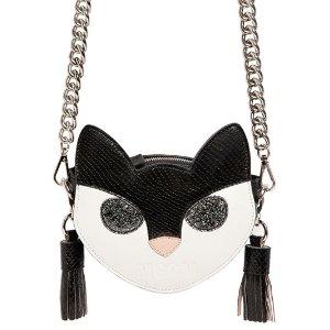 MSGM CAT FACE LEATHER SHOULDER BAG