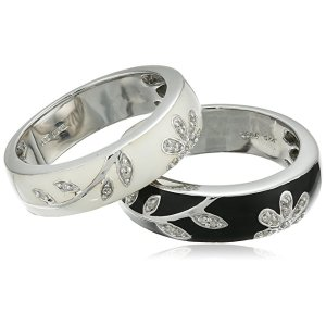Amazon.com: Sterling Silver Black White Enamel Floral Diamond Stack Ring (1/10 cttw), Size 8: Clothing