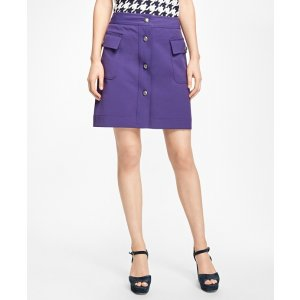 Double-Faced Button-Front Skirt - Brooks Brothers
