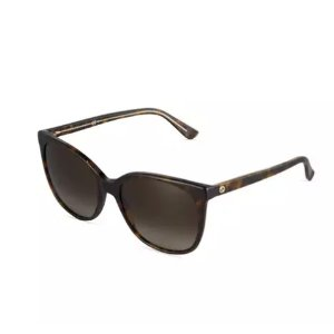 Gucci Modified Cat-Eye Havana Acetate Sunglasses, Brown