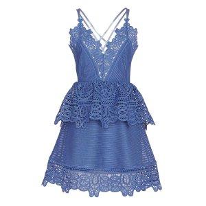 Self-Portrait Lace Peplum Mini Dress   Shop IntermixOnline.com