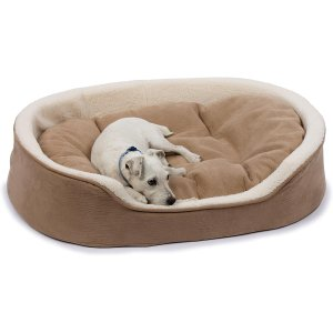 Petco Oval Tan and Cream Lounger Dog Bed, 27