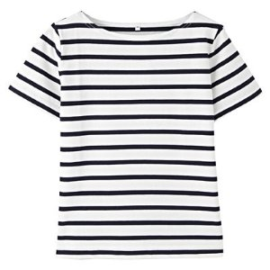 Women Dry Cotton UV Cut Short Sleeves Border T Shirt