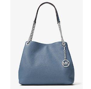 抓紧!$111.75(原价$298)Michael Kors 女式真皮雾霾蓝色大号链条托特包