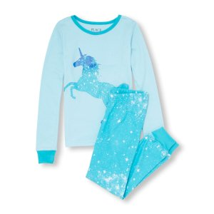 Girls Long Sleeve Unicorn Galaxy Graphic Top And Galaxy Printed Pants PJ Set   The Children's Place