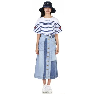 Denim slim fit long skirt