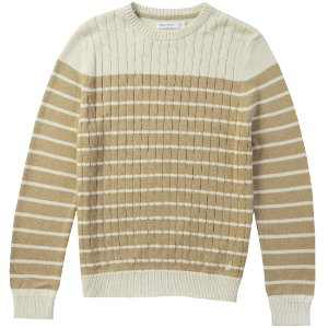 Striped Cable Front Sweater