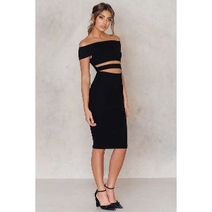 Off Shoulder Cut Out Midi Dress - Buy online | NA-KD