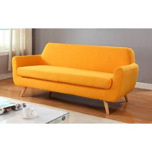 Mid Century Modern Yellow Fabric Sofa - Sofamania