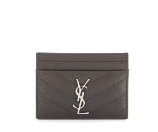 Saint Laurent Monogram Matelass Leather Card Case, Dark Anthracite