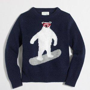 Boys' bear snowboarding intarsia sweater : Crewnecks | J.Crew Factory