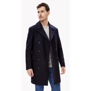 Wool Cashmere Melton Double-Breasted Coat