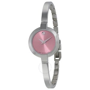 Movado Bela Pink Dial Stainless Steel Bangle Ladies Watch 0606596 - Bela - Movado - Watches - Jomashop
